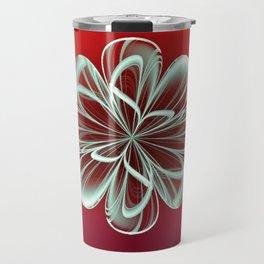 Cyan Bloom on Red Travel Mug
