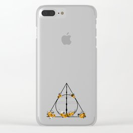 Deathly Hallows in Gold and Gray Clear iPhone Case