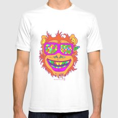 A funny monkey face colored glasses. Mens Fitted Tee MEDIUM White