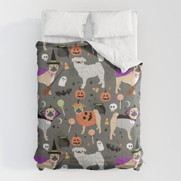 Pug halloween costumes mummy witch vampire pug dog breed pattern by pet friendly Comforters