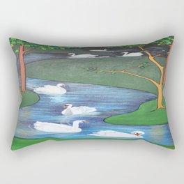 A Flock of Seven Swans-A-Swimming Rectangular Pillow