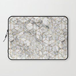 White marble geomeric pattern in gold frame Laptop Sleeve