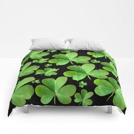 Clovers on Black Comforters