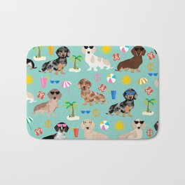 Dachshunds beach summer tropical vacation weener dogs doxie gifts Bath Mat