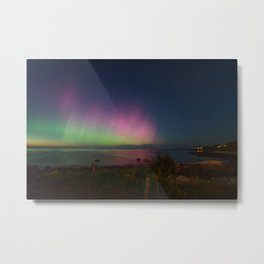 Pink Aurora at Old Garden Beach Metal Print