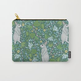 Grey hares with coltsfoots and snowdrops on green background Carry-All Pouch