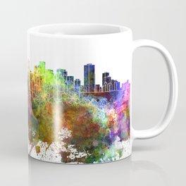 Edmonton skyline in watercolor background Coffee Mug