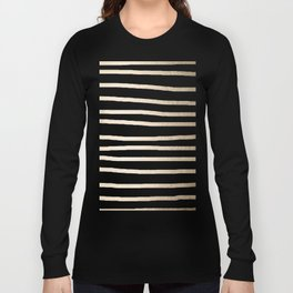 Simply Drawn Stripes in White Gold Sands Long Sleeve T-shirt