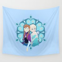 sisters Wall Tapestries featuring Sisters by Inque