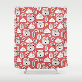 Canadian Bear Papercut Stickers Shower Curtain