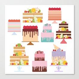 Birthday, valentine's day, wedding, engagement. Set sweet cake, fruits, berries Canvas Print