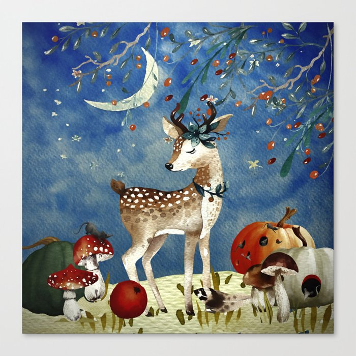 Autumn Woodland Friends Deer Forest Illustration Canvas Print