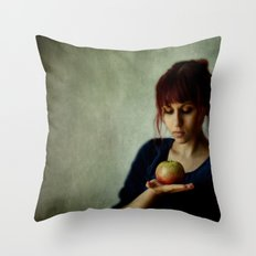 the girl with the apple Throw Pillow