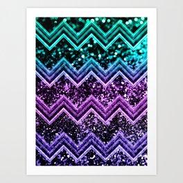Unicorn Glitter Chevron #4 #shiny #decor #art #society6 Art Print