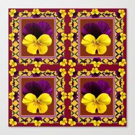 MAROON QUATREFOIL PURPLE & YELLOW SPRING PANSIES Canvas Print