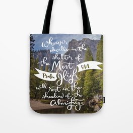 Psalm 91 with Background Tote Bag