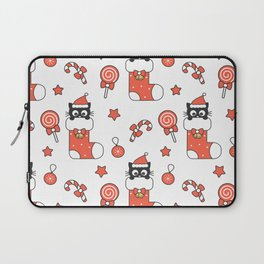 cute cartoon black baby cat in christmas gift sock and holiday elements pattern Laptop Sleeve
