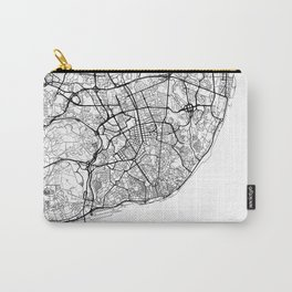 Lisbon Map White Carry-All Pouch