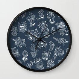 TRADITIONAL TATTOO PATTERN (DARK) Wall Clock