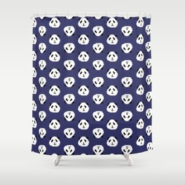 Blue Pixel Panda Pattern Shower Curtain