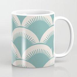 Japanese Fan Pattern Foam Green and Beige Coffee Mug