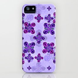 Deluxe Ornate Pattern Design in Blue and Fuchsia Colors iPhone Case