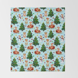 Blue Christmas - From Corgis, Santa And Christmas Trees Throw Blanket