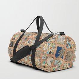Vintage copper grid patchwork Duffle Bag