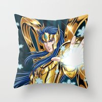 camus Throw Pillows featuring Aquarius Camus-God Cloth by Studio Kawaii