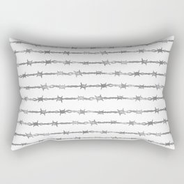 barbed wire stripe - white Rectangular Pillow