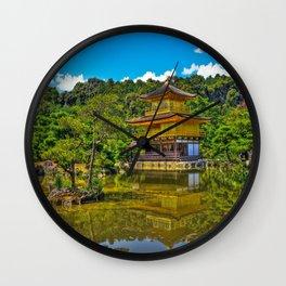 Kinkaku-ji /  Temple of the Golden Pavilion / Japanese Temple / Kyoto / Gold Temple / Japan Wall Clock
