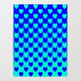 Zigzag of iridescent gold hearts staggered on a blue background. Poster