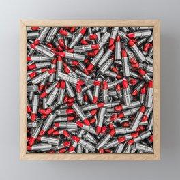 Lipstick chrome / 3D render of red chrome lipsticks Framed Mini Art Print