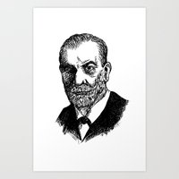 freud Art Prints featuring Freud by Fortunate Tuna