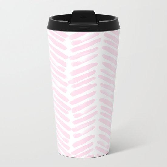 Handpainted Chevron pattern light pink stripes Metal Travel Mug