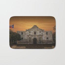 The Alamo Mission in San Antonio Texas with the Lonestar Flag Flying No.0256 A Fine Art Historical P Bath Mat