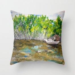 Florida Mangrove Tea Water in the Everglades Throw Pillow