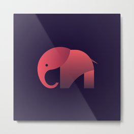 Pink Elephant Metal Print
