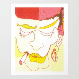 woman smoking yellow red white zollione Art shop Art Print