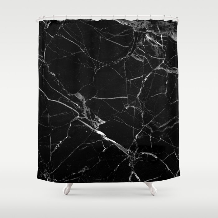Black Marble Shower Curtain by coconutsandshrimps   Society6