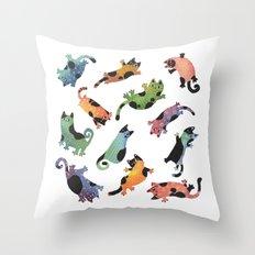 12 cats Throw Pillow
