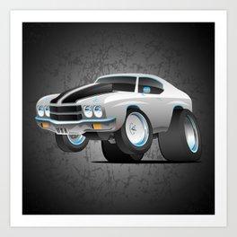 Classic Seventies American Muscle Car Cartoon Art Print