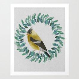 yellow watercolor cardinal bird Art Print