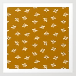 Bee pattern in gold yellow background Art Print