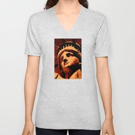Statue of Liberty, United States National Monument,  close-up view of face and crown Unisex V-Neck