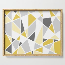 Geometric Pattern in yellow and gray Serving Tray