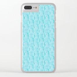 Aqua Knit Textured Pattern Clear iPhone Case