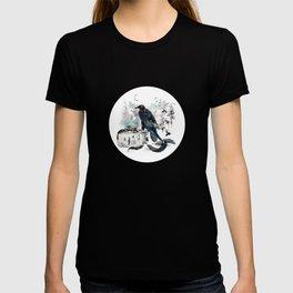 Blackwinged Birds Fly Past The Moonlit Raven's Eye T-shirt