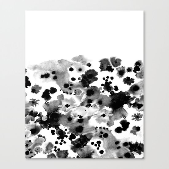 Mona - Black and White Painted Spots, painterly, abstract, monochrome cell phone case Canvas Print