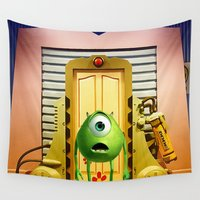 monster inc Wall Tapestries featuring  Monster Inc Mike Wazowski by Thorin